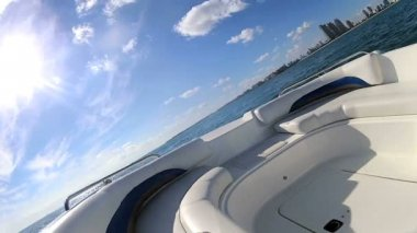 Seascape view from motor vessel — Stock Video