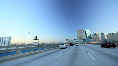 Freeway driving on elevated roads — Stockvideo
