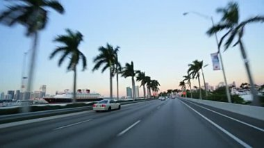 Driving on MacArthur Causeway — Vídeo de stock