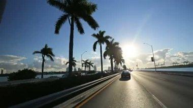 Driving on Miami city causeway — Stock Video