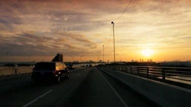 Driving on Ocean causeway highway — Stock Video