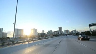 Freeway driving elevated roads — Stockvideo