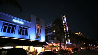 Noite dirigindo na ocean drive — Video Stock