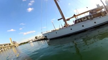 Motor yachts moored in Miami — Stock Video