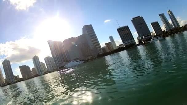 Paseo marítimo de la ciudad de Miami — Vídeo de stock
