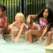 Friends playing in swimming pool — Stock Video #50943063