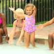 Friends playing in swimming pool — Stock Video #50943823