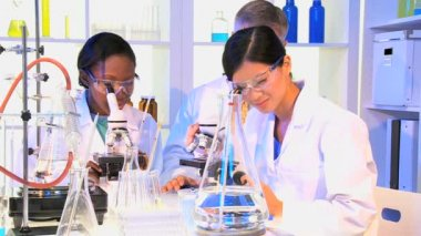 Medical Technicians using Laboratory Equipment — Vídeo stock