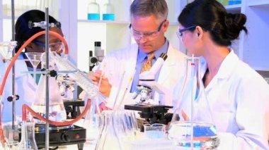 Medische technici met behulp van laboratoriumapparatuur — Stockvideo