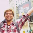 Male Backpacker Successful Trip New York Times Square Close Up — Stock Video #51588555