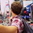 Male Backpacker Successful Trip New York Times Square Close Up — Stock Video