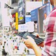 Male Global Traveller Wireless Tablet New York Times Square — Stock Video #51588661