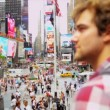 Male Global Traveller New York Times Square — Stock Video #51588663