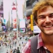 Close Up Male Global Traveller New York Times Square — Stock Video
