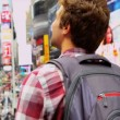 Young Male Tourist Times Square New York — Stock Video #51589043