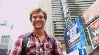 Global Traveller Enjoying Sights Times Square New York — Stock Video