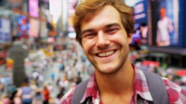 Portrait Global Traveller Enjoying Sights Times Square New York — Stock Video