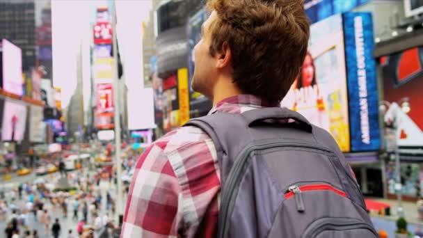Young Male Tourist Times Square New York — Vidéo