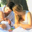 Young couple playing with baby in the park — Stock Video #51659249
