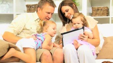 Caucasian Parents Children Wireless Tablet — Stock Video