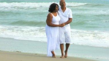 Loving Senior Couple on Beach Together — Stock Video