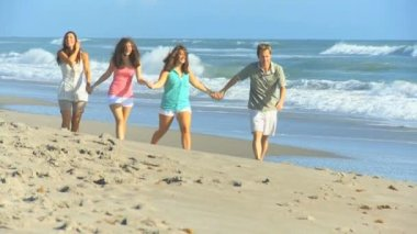 Carefree Caucasian Family Enjoying Beach Vacation — Stock Video