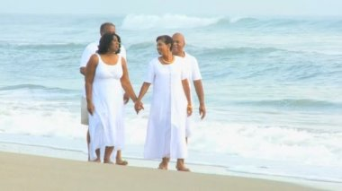 African American Senior Couples Retirement Lifestyle — Stock Video