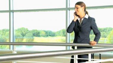 Businesswoman talking on phone — Stock Video