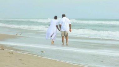 Retired Ethnic Couple Walking on Beach — Stock Video