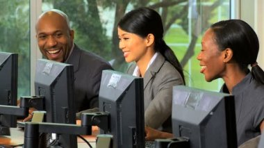 Management team working at computers — Stock Video