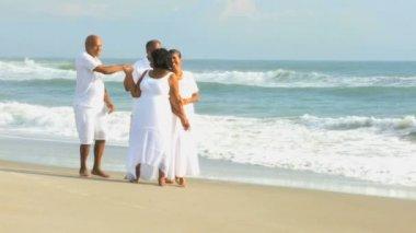 Happy Ethnic Seniors on Beach Vacation — Stock Video