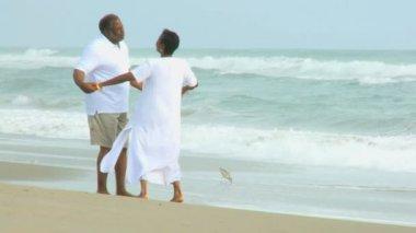Retired Ethnic Couple Dancing Beach — Stock Video