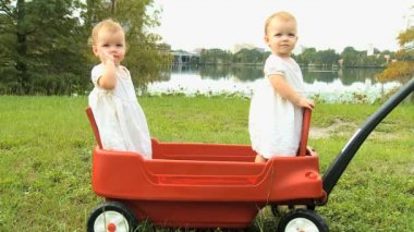 Twin girls standing in plastic cart — Stockvideo