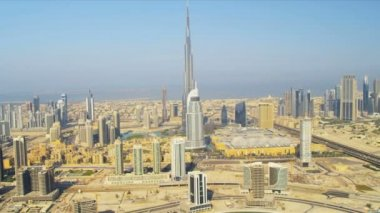 Aerial view Burj Khalifa  downtown Dubai — Stock Video