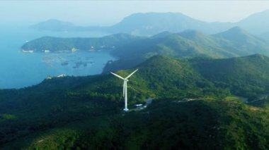 Aerial View of Wind Turbine Hong Kong Coastline — Stock Video