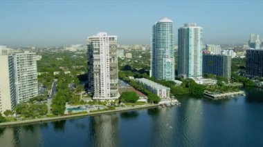 Aerial view luxury  condominiums Brickell  Key, Miami — Stock Video