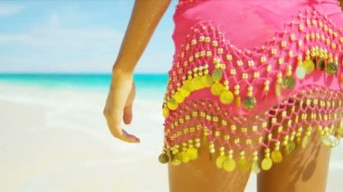 Close Up Lower Body Girl Wearing Bikini Sarong — Stock Video