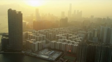 Aerial View of Condominiums Kowloon — Stock Video
