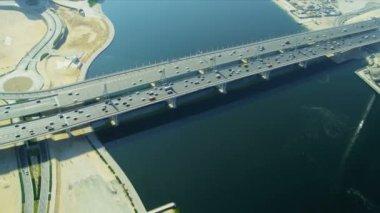 Aerial view Business Bay Bridge, Dubai — Stock Video