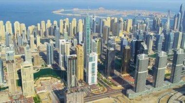 Aerial Skyline view Dubai city — Stock Video