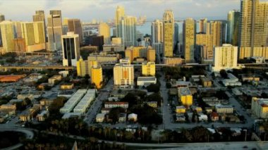 Aerial view setting sun over Miami, USA — Stock Video