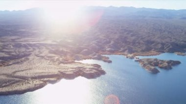 Aerial view Colorado River near  Las Vegas — Stock Video