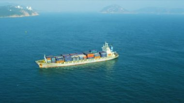 Aerial View Ocean Container Ship — Stock Video