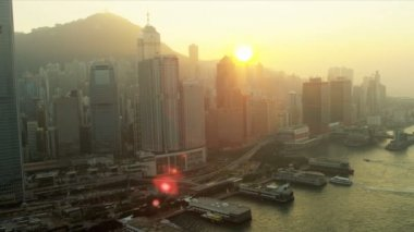 Aerial View of Ferry Terminal Hong Kong Island, China — Stock Video