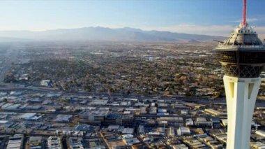 Aerial view Stratosphere Tower Hotel Las Vegas — Stock Video