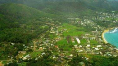 Aerial view Pacific Ocean coastline — Stock Video