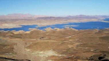 Aerial view Lake Mead reservoir, Las Vegas — Stock Video
