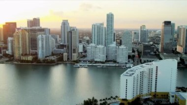 Aerial view across Biscayne Bay towards Miami — Stock Video
