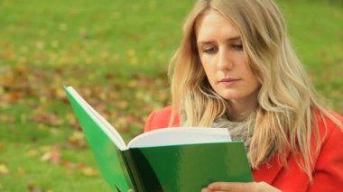 Caucasian student autumn day revising — Stok video