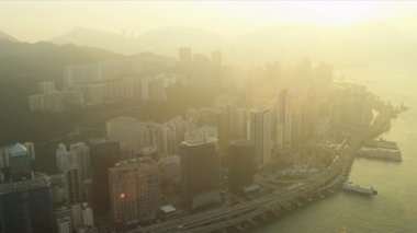 Sunset View of Hong Kong and Kowloon — Stock Video